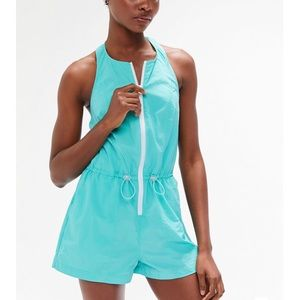 Urban Outfitters Zip Up Nylon Halter Romper XS